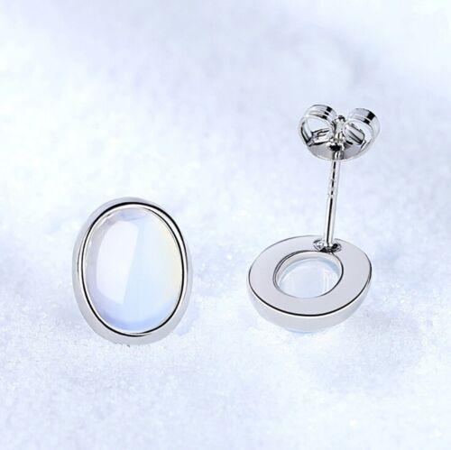 Piedra De Luna Ovalado Plata Esterlina 925 Pendientes con Pasador para Mujeres Niñas Joyas Regalo UK