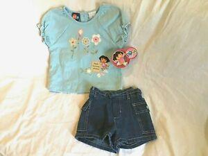 DORA-THE-EXPLORER-Girls-2-Piece-Blue-Floral-Shirt-amp-Denim-Shorts-Outfit-5T-NWT