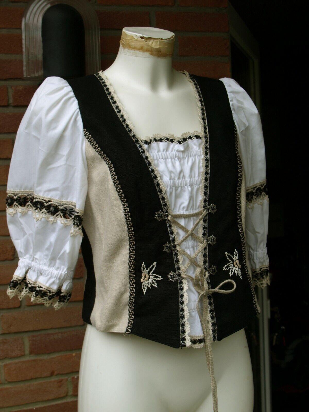 Landhaus Tolle beige/schwarz/weiße Leinen Trachten Bluse Gr. 38 neuwertig