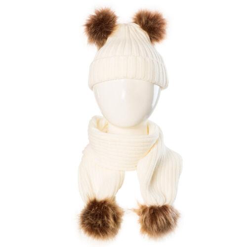 Baby Boy Girls Winter Warm Pom Bobble Beanie Ski Hat Cap+Scarf Scarves Set New