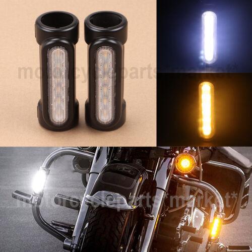Crash Bar Lights LED White Amber Motorcycle DRL Turn signals for Harley Touring