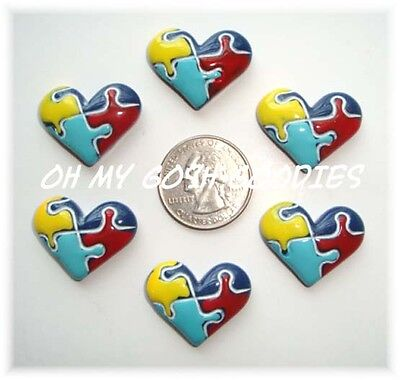 6PC AUTISM  HEART AWARENESS AUTISTIC PUZZLE SIGN FLATBACK RESINS 4 BOW CENTER