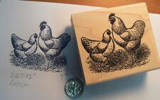 """2 Chickens rubber stamp WM 2x2.5""""  P11"""
