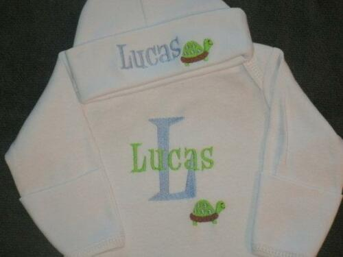 PERSONALIZED Baby Sleeper Gown and Hat Turtle Outfit New Newborn Set Custom