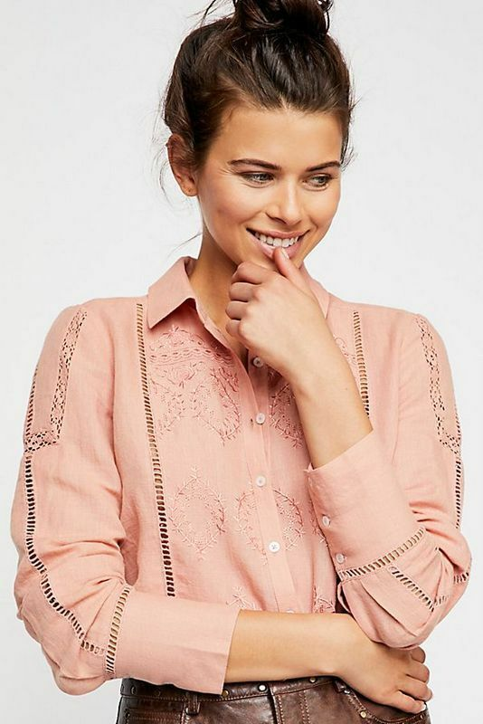 Free People NWT Large A Piece Of My Heart Buttondown Eyelet embroiderot Top L