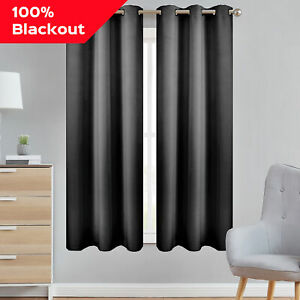 Details about 100% Blackout Curtains Set of 2 Panels Lined Insulated  Grommet Bedroom Window