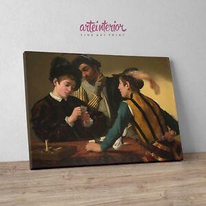 Caravaggio-039-I-bari-039-Stampa-Fine-Art-alta-definizione-su-tela-Canvas-Arte-Arredo