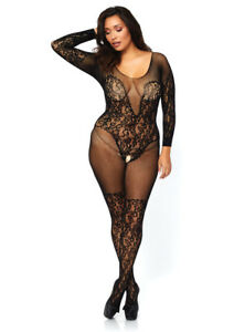 e95a33b020 Leg Avenue Vine Lace and Net Long Sleeved Bodystocking Queen Black ...
