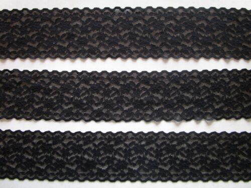 1 METER Spitze Borte Elastisch Schwarz 5,5cm Elegante  1108