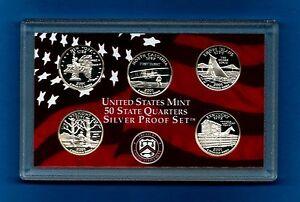 2001-Silver-Proof-State-Quarter-Set-5-Quarters-NO-BOX