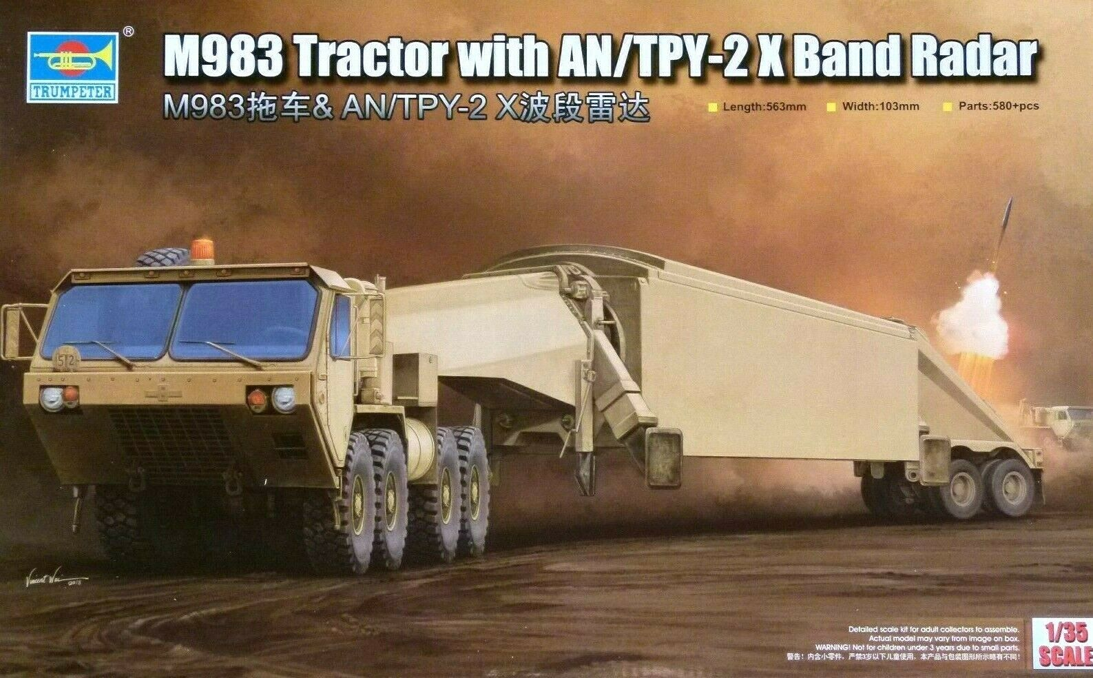 Trumpeter 1 35 M983 Tractor With AN TPY-2X Band Radar Vehicle Model Kit