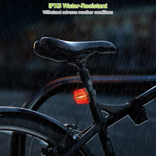 Rear Safety Flashlight 4 x Waterproof Lamp Bike Bicycle Front 5 LED Head Light