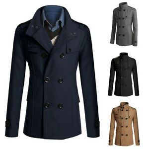 Long Overcoat Coat Jacket Trench Winter Warm Mens British Casual Snow Outwear