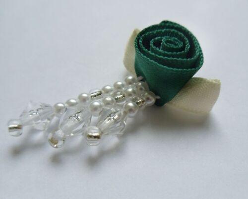 "Lots of 12 pcs-RB024G 7//8/"" Teal Green Bead Fringe Swirl Satin Ribbon Roses"