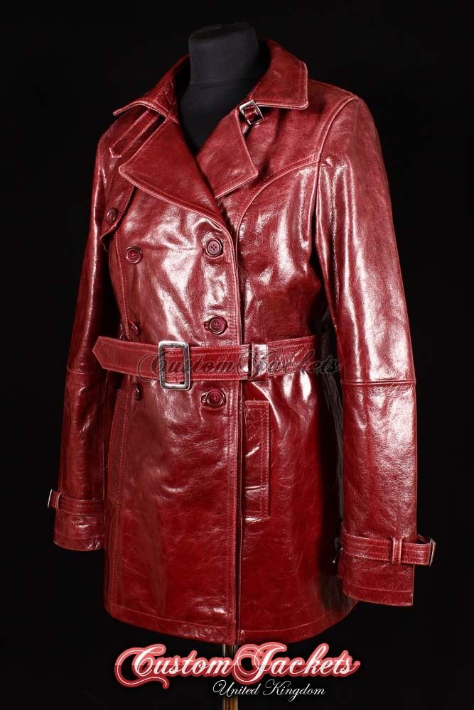 women red ciliegia Burgundy Reale Pelle d'agnello Cappotto trench giacca MAC