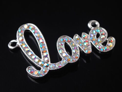 5pcs 46 mm strass motif love collier pendentif Finding Connector Charms