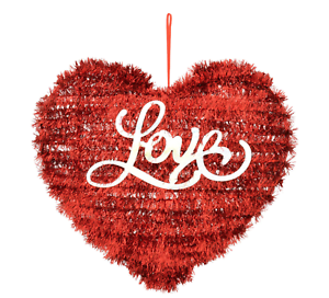 Valentine S Day Love Heart Shaped Red Tinsel Hanging Home Wall Decor Ebay