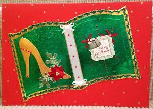 De Lujo Hecho a Mano Personalizado Grande A4 tarjeta de Navidad Libro Verde Oro ostentoso Zapato