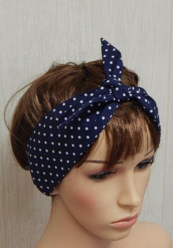 Polka headband retro hair scarf self tie headscarf 50s head wrap pin up headband