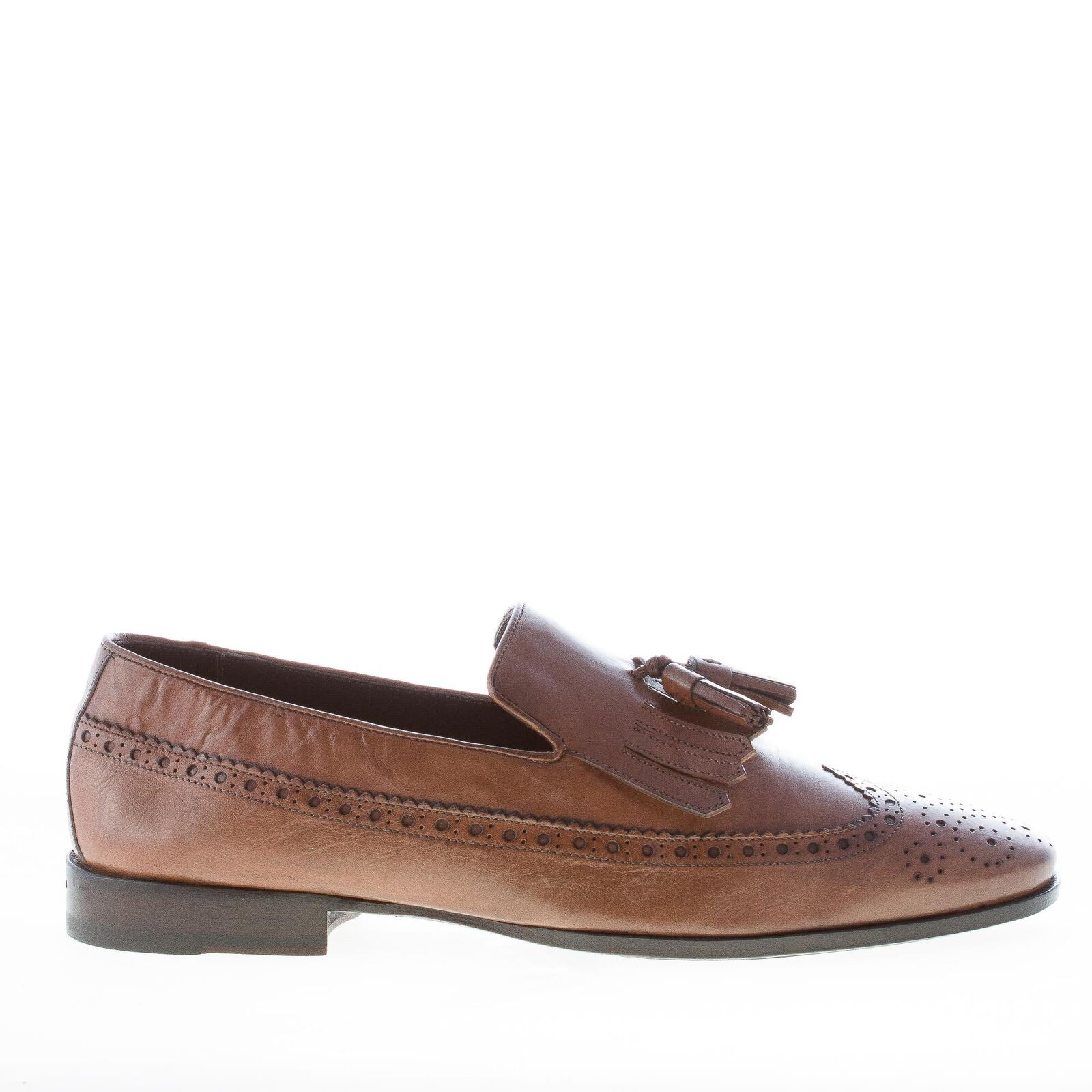 ORTIGNI herren schuhe Natural taupe leather loafer fringe tassels made in