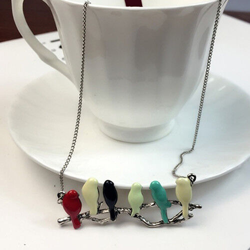 Birds On A Branch Vintage Colourful LONG Chain Pendant Necklace Tree Bird BOXED