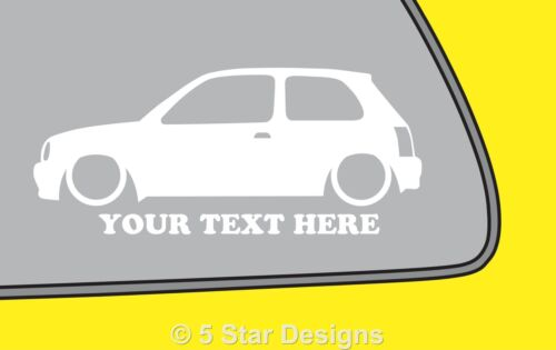 2x LOW YOUR TEXT //fits Nissan Micra K11 outline silhouette sticker decal 253