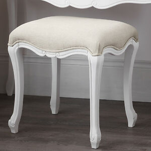 JULIETTE-Shabby-Chic-White-Upholstered-Stool-French-stool-with-cushion-ASSEMBLED