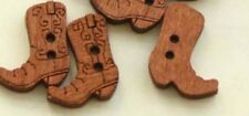"""Lot of 10 BOOTS 2-hole Wooden Buttons 3/4"""" (20mm x 17mm) (1744) Craft Scrapbook"""