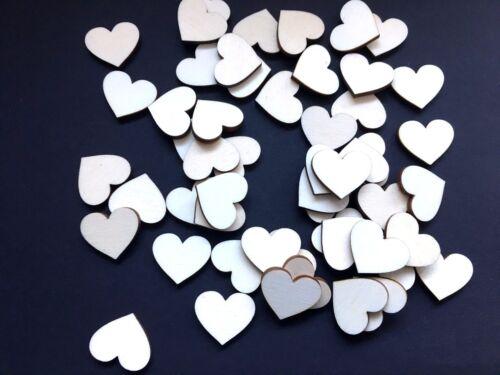 50 Streudeko Holz Herz Tischdeko Natur Hochzeit Deko Streuteile Blanco Hell 3 cm