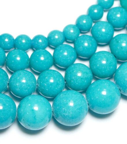 1 Strang piedras preciosas #2127 Jade mashan turquesa opaco liso balas brillo 4-12 mm