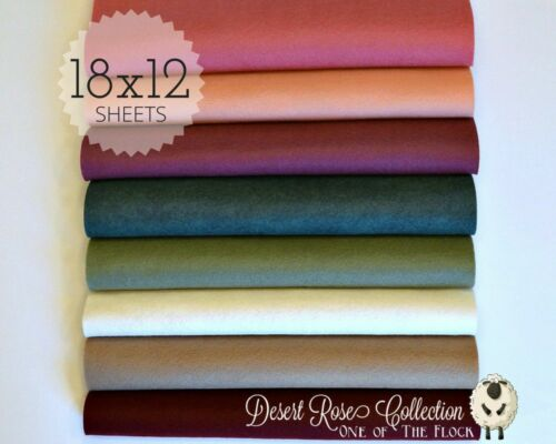 "WOW DESERT ROSE Felt Collection Merino Wool Blend Felt 8-12/"" X 18/"" Sheets"