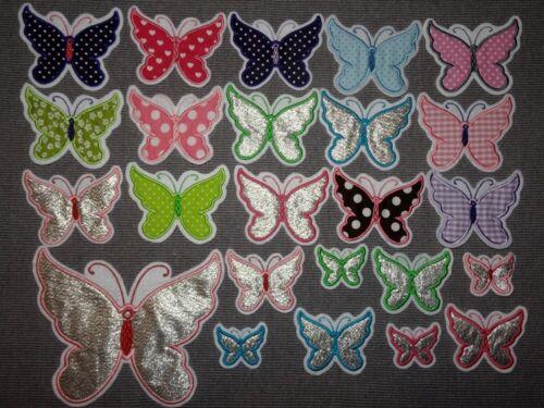 Schmetterling 5-18,5cm Applikation Aufnäher glitzer silber rosa pink