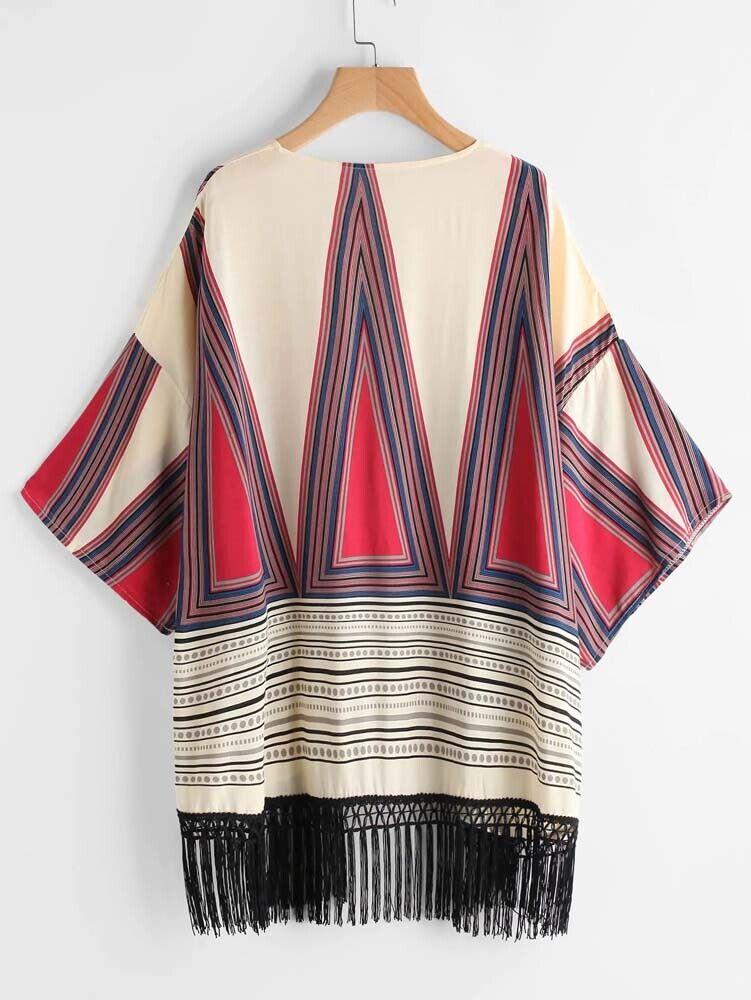 Top Tribal Geometric Print Fringe Hem Kimono OS