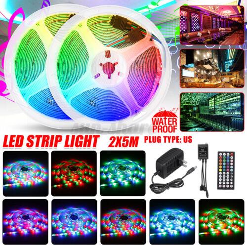 32FT 10M RGB 300 600 LED Strip Light Music Sound Activated Remote 12V DC Power