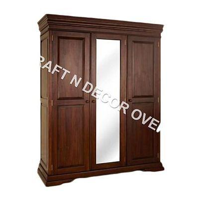 KraftNDecor Contemporary Wooden Almira/Three Door Wardrobe in Brown Colour