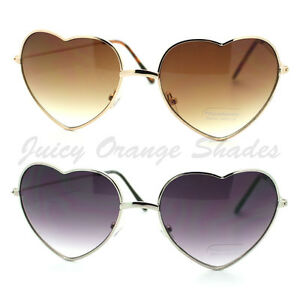4bf65faf9d3 Image is loading Heart-Shape-Sunglasses-Metal-Frame-Cute-Lovely-Womens-