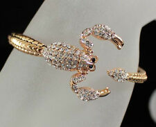 SCORPION CLEAR AUSTRIAN RHINESTONE CRYSTAL BRACELET BANGLE CUFF B1598GOLD