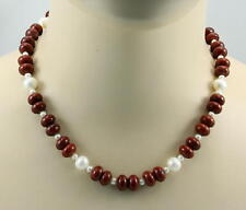 Jaspis Kette roter Jaspis mit Perle Edelsteinkette Silex Halskette Damen 46,5 cm