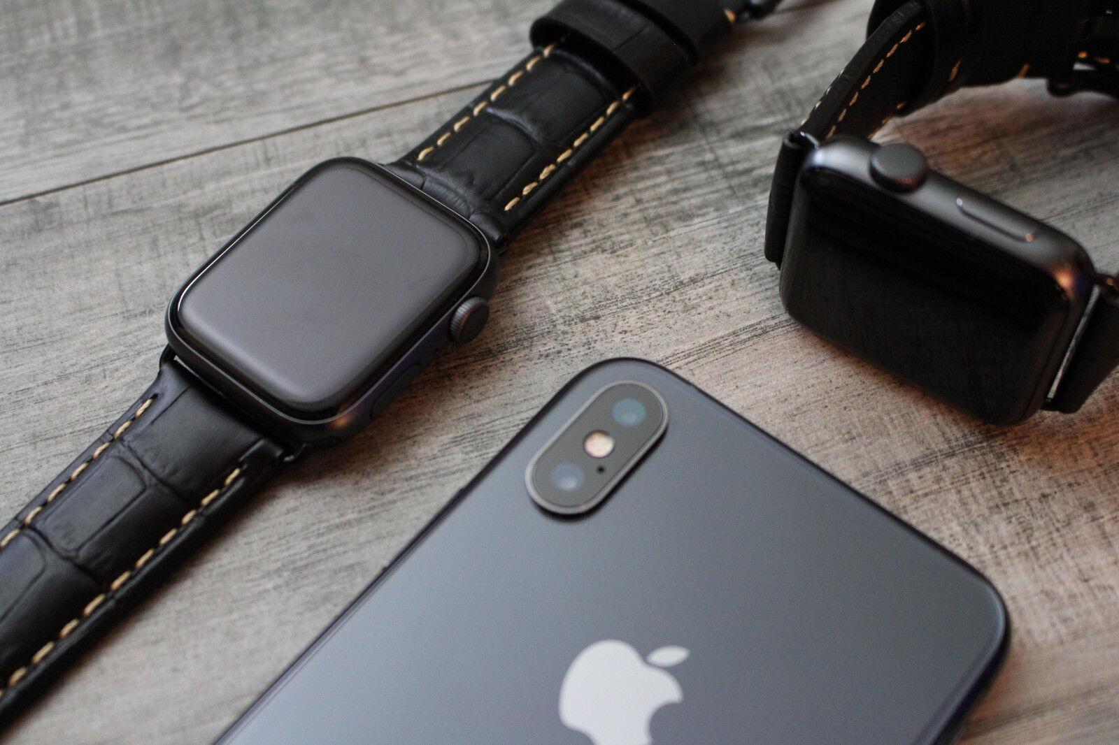iwatch: Per Orologio Apple Serie 6 5 Se 42/44mm Nero Croc Stile Pelle Cinturino Iwatch