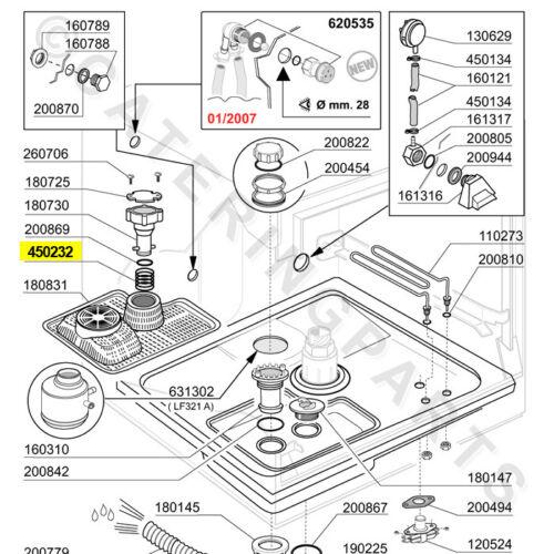 COMENDA 450232 PRESSIONE MOLLA PER TUBO di overflow LAVASTOVIGLIE glasswasher PLUG