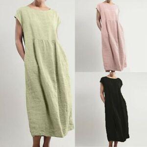 Women-Solid-Short-Sleeve-Maxi-Dress-Pockets-Linen-Loose-Kaftan-Long-Dress-ZC