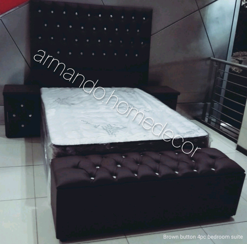 Brown faux leather bedroom suite with crystals