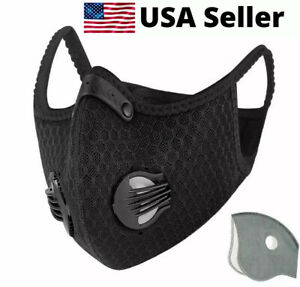 USA-SELLER-Cycling-Air-Purifying-Face-Mask-Cover-Haze-Washable-Reusable-Filter