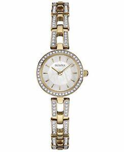 Bulova Women's 98L213 Swarvoski Crystal Accents Quartz Gold Tone 23mm Watch