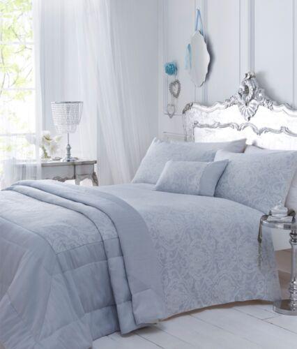 Sky Blue Luxury Floral Paisley Woven Jacquard Duvet Quilt Cover Bedding Sets