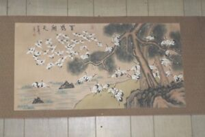 Vintage-Chinese-Scroll-100-Cranes-Painting-43-75-in-x-22-75-in