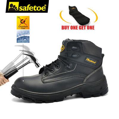 Safetoe Mens Black Leather Work Shoes