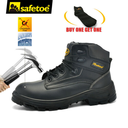 Safetoe Mens Black Leather Work Shoes Safety Boots Steel Toe Plate Memory Foam