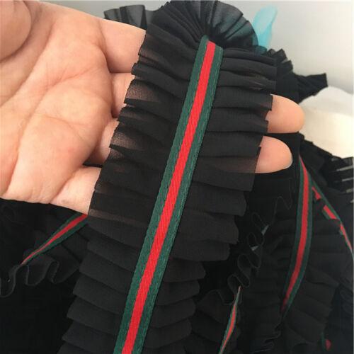 Red Green stripe black ruffle mesh chiffon braid lace designer inspired DIY 1MTR