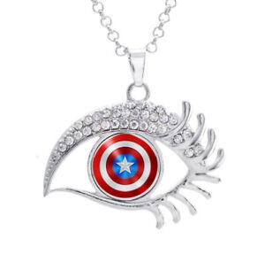 16mm-Superhero-Captain-America-Glass-Noosa-Snap-Crystal-Evil-Eye-Shaped-Necklace
